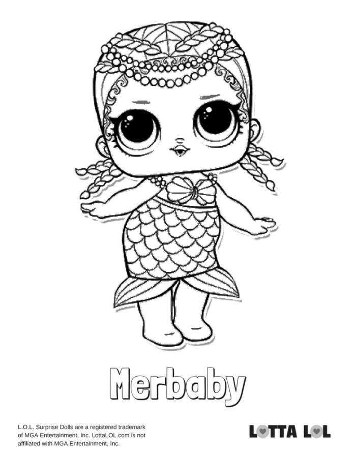 lol mermaid coloring pages | Merbaby LOL Surprise Doll Coloring Page | Lotta LOL