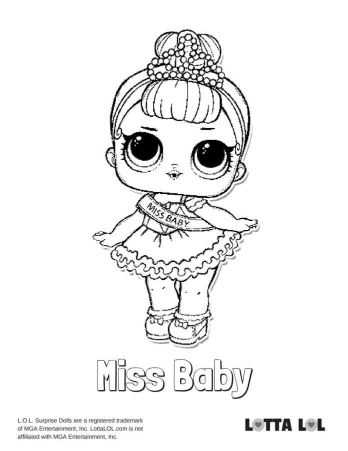 Miss Baby LOL Surprise Doll Coloring Page   Lotta LOL