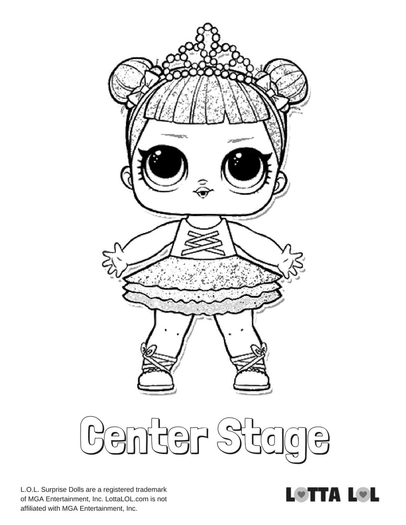 Center Stage Glitter LOL Surprise Doll Coloring Page