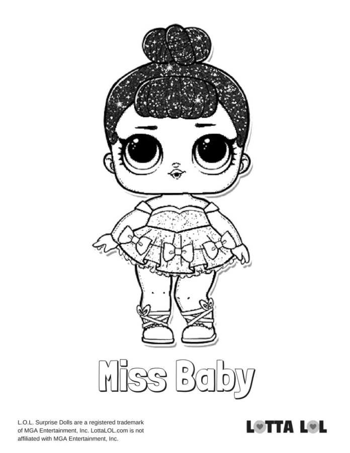 Miss Baby Glitter Lol Surprise Doll Coloring Page Lotta Lol