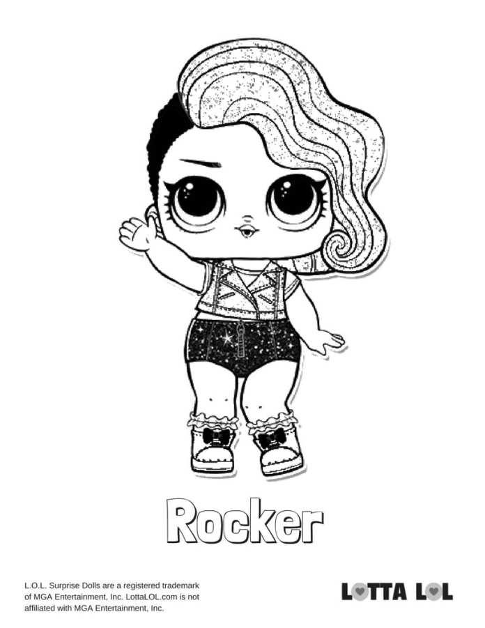 Rocker Glitter LOL Coloring Page