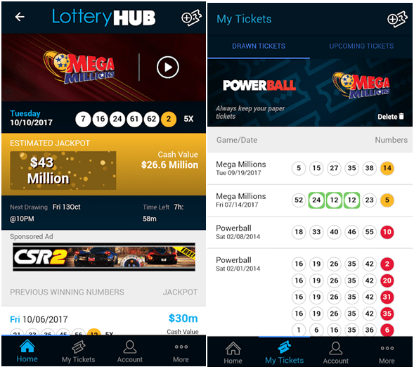 App for lottery results