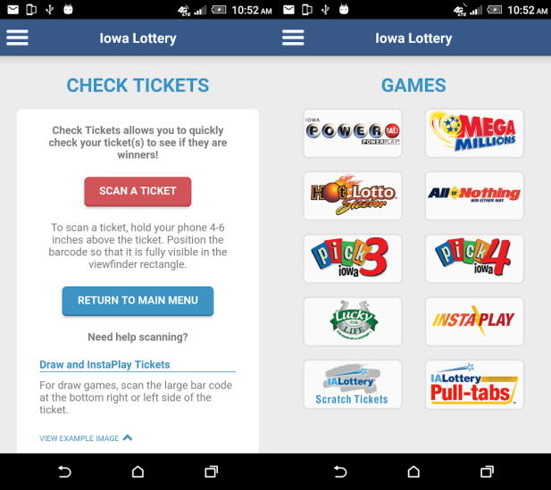 Iowa lottery app- check result