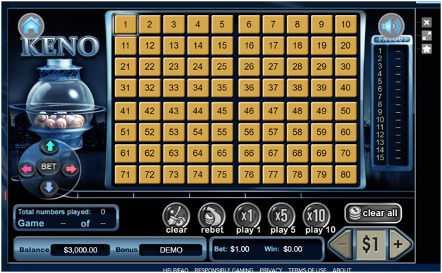 Keno game at Liberty Slots