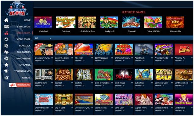Liberty Slots Casino- Games to play