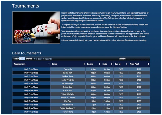 Liberty Slots Casino- Tournaments