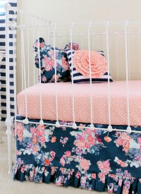Navy Floral Coral Bumperless Baby Bedding Set