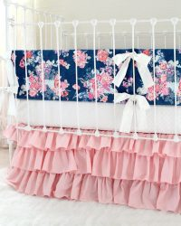 Blush and Navy Nursery Bedding | Navy Floral Blush Crib ...