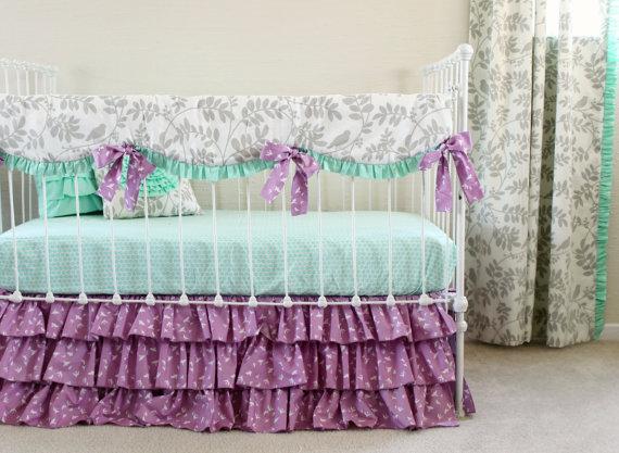 Bumperless Mint and Purple Bird Baby Bedding Set  Blanket