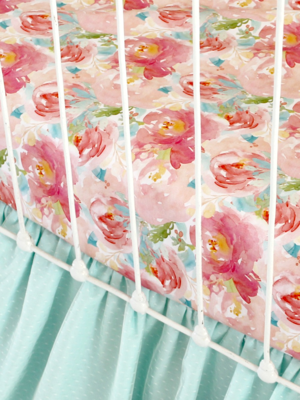 Watercolor floral crib sheet pink floral baby bedding