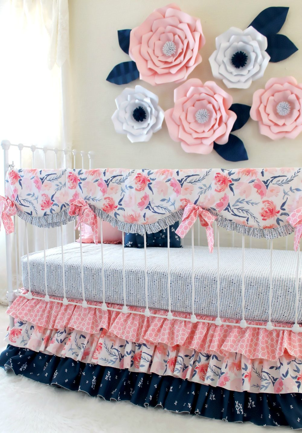 Pink and Navy Print Mix Watercolor Whispers Ruffle Crib