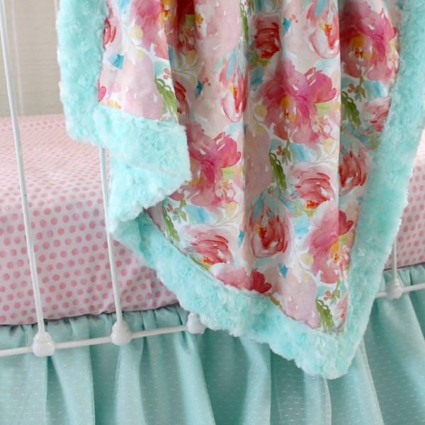 Pastel Peonies Rail Cover Bumperless Set - Aqua Lottie