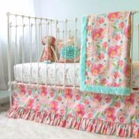 Pastel Peonies Floral Bumperless Crib Bedding - Lottie Da ...