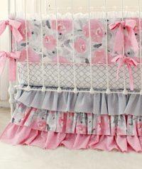 Pink Gray Fawn Baby Bedding Set Girls Pink Deer Woodland ...