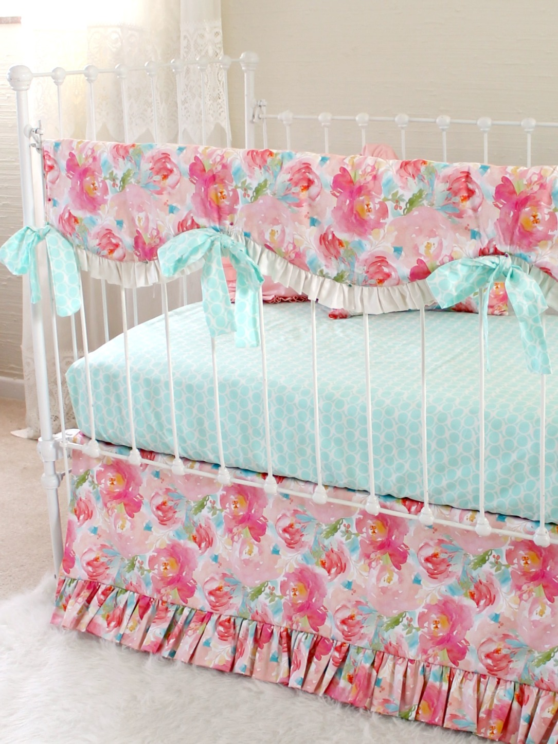 Pastel Peonies Floral Bumperless Crib Bedding  Lottie Da Baby
