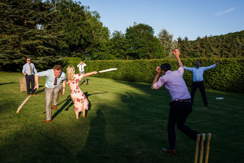 Garden games and cricket at a wedding