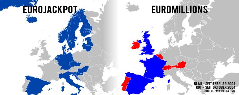 eurojackpot und euromillions eu europa map