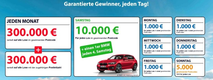 Postcode Lotterie Deutschland Gewinnplan Juni 2018