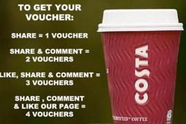 Costa Facebook Scam