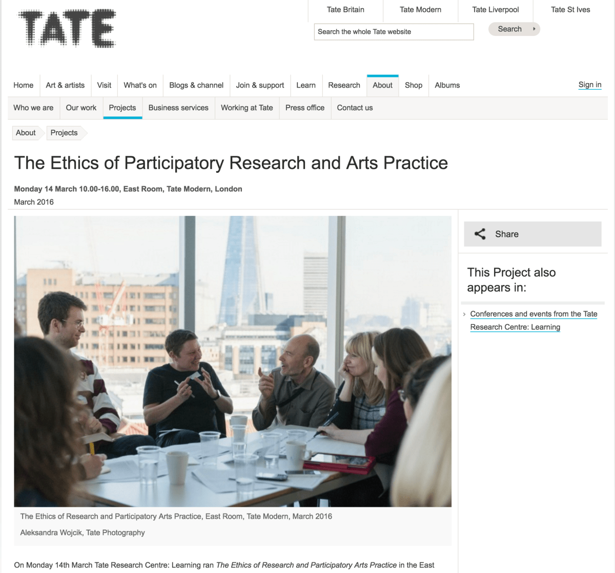 The Ethics of Participatory Research and Arts Practice,        Tate Research Centre: Learning, at the Tate Modern
