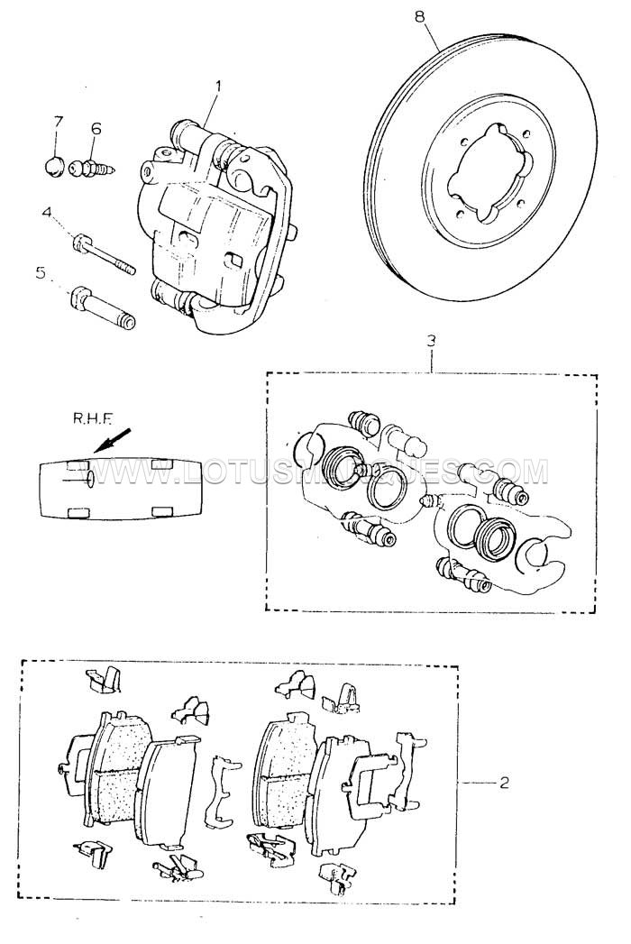 Lotus Esprit S3 turbo front brake parts