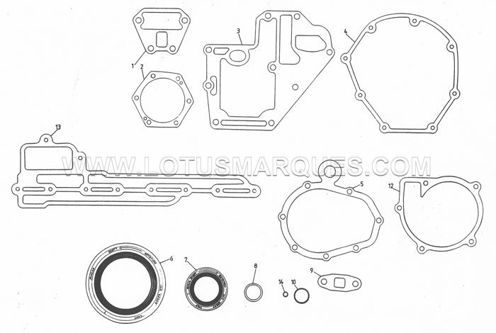Lotus Esprit S4 engine lower gasket set