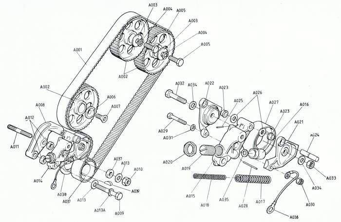 Lotus Excel timing belt tensioner parts