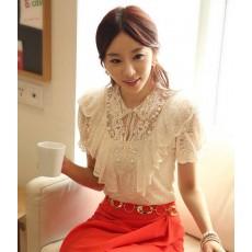 เสื้อลูกไม้ แฟชั่นเกาหลีสวยแขนสั้นสวยสุดหรู นำเข้า ไซส์MถึงXXL สีขาว - พร้อมส่งBM2465  ราคา1350บาท