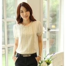 เสื้อชีฟองแขนสั้น ลูกไม้แฟชั่นเกาหลีผู้หญิงทำงานสวยหรูหรา นำเข้า สีขาว ไซส์Mถึง2XL - พร้อมส่งBM2476 ราคา1250บาท
