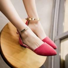 รองเท้าส้นเตี้ย หนังกลับหัวแหลมพร้อมสายรัดข้อสุดเก๋แฟชั่นเกาหลี นำเข้าไซส์34ถึง43 สีชมพู - พรีออเดอร์HS189-3 ราคา1650บาท