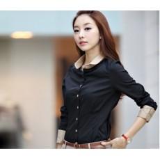 เสื้อเชิ้ต ทำงาน แฟชั่นเกาหลีแบบใหม่สวย นำเข้า ไซส์M สีดำปกกากี - พร้อมส่งMI530 ราคา890บาท