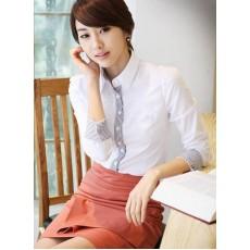 เสื้อเชิ้ต ทำงาน แฟชั่นเกาหลี แบบใหม่ สวยเรียบหรู นำเข้า ไซส์S/M/L/XL สีขาว - พรีออเดอร์MI532