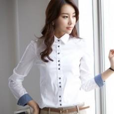 เสื้อเชิ้ต ทำงาน แฟชั่นเกาหลี ใหม่สวย อินเทรนด์ นำเข้า ไซส์S/M/L/XL/XXL สีขาว - พรีออเดอร์MI502