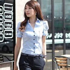 เสื้อผ้าทำงาน แฟชั่นเกาหลีเชิ้ตสวยแขนสั้นฟอร์มพนักงาน นำเข้า ไซส์M สีฟ้า - พร้อมส่งMI591 ราคา970บาท