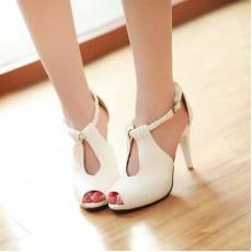 รองเท้าส้นสูง ใส่ทำงานสายถักเปียสวยแฟชั่นเกาหลี นำเข้าไซส์34ถึง39 สีขาว - พรีออเดอร์RB2160 ราคา1450บาท