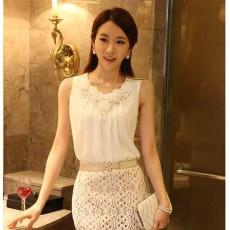เสื้อชีฟอง แฟชั่นเกาหลีสวยแขนกุดแต่งดอกไม้ใส่ออกงานหรู นำเข้า ฟรีไซส์ - พร้อมส่งTJ7268 ราคา1250บาท