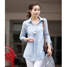 เสื้อเชิ้ต แฟชั่นเกาหลีใหม่สวยตัวหลวมน่ารักใส่สบายมาก นำเข้า สีฟ้า - พร้อมส่งTJ7271 ราคา950บาท