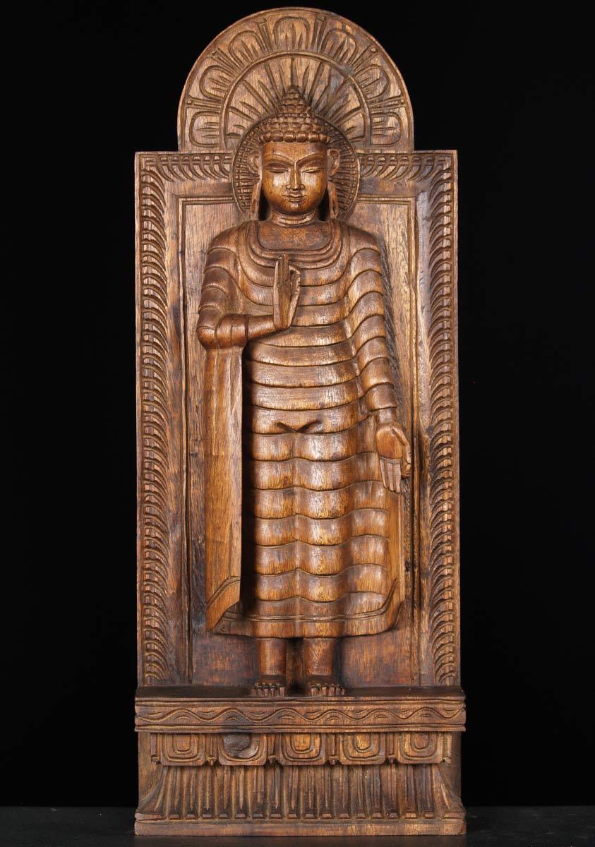 SOLD Wooden Buddha Statue in Vitarka Mudra 24 65w13zn