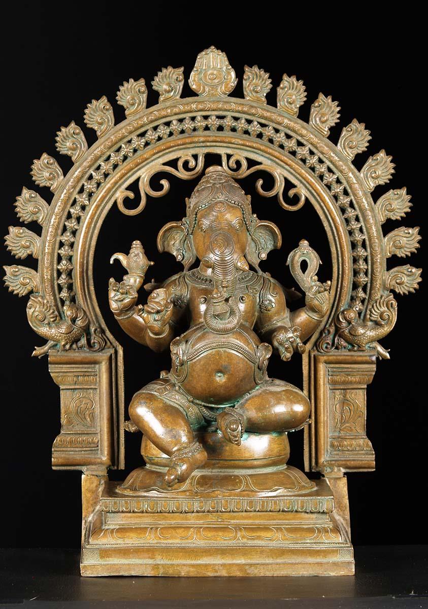 SOLD Bronze Ganesh With Arch Statue 21 74b60 Hindu Gods  Buddha Statues