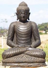 """Stone Meditating Garden Buddha Statue 32"""" (#85ls127"""