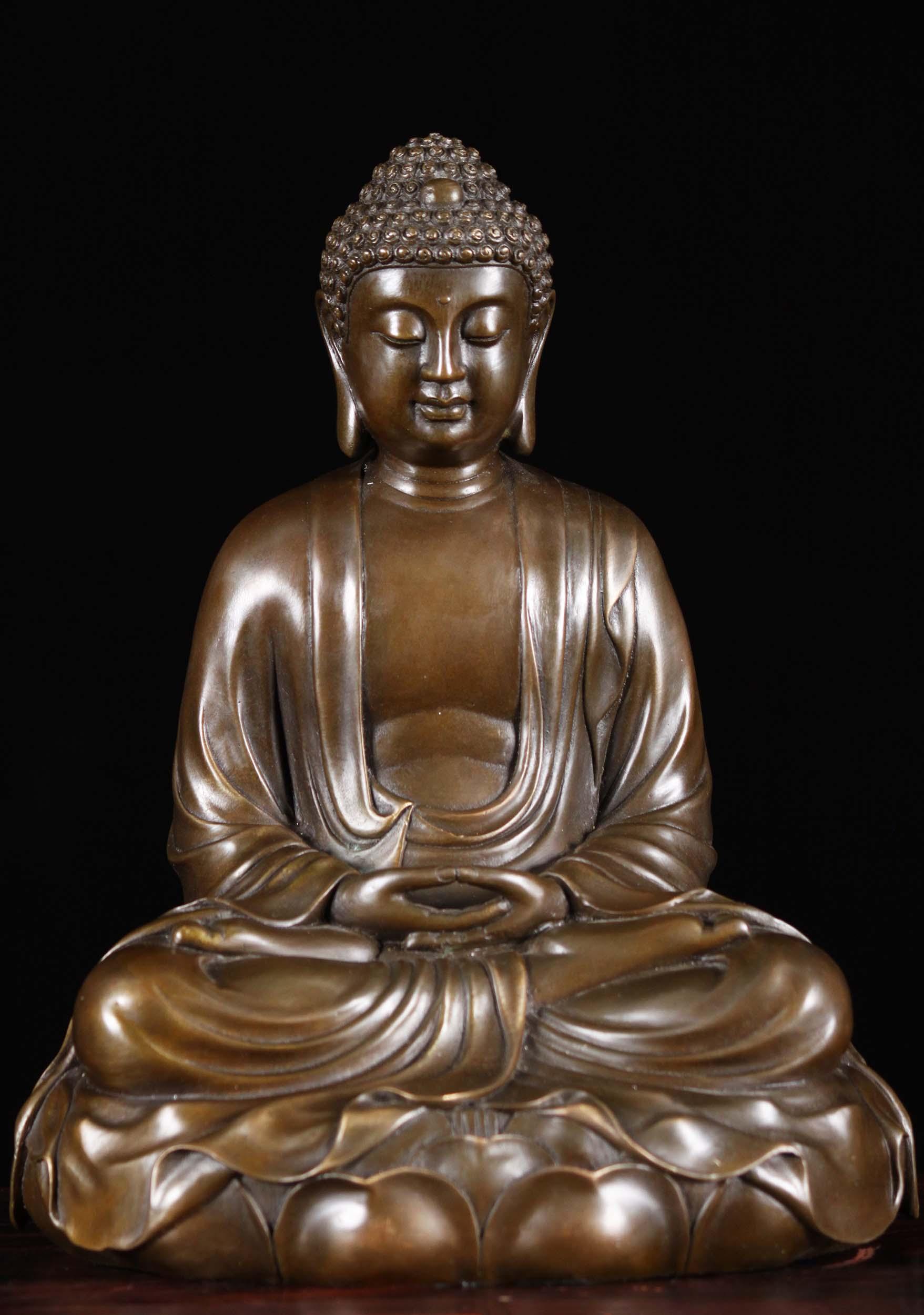 SOLD Bronze Meditating Buddha Statue on Lotus Base 11