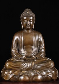 SOLD Bronze Meditating Buddha Statue on Lotus Base 11