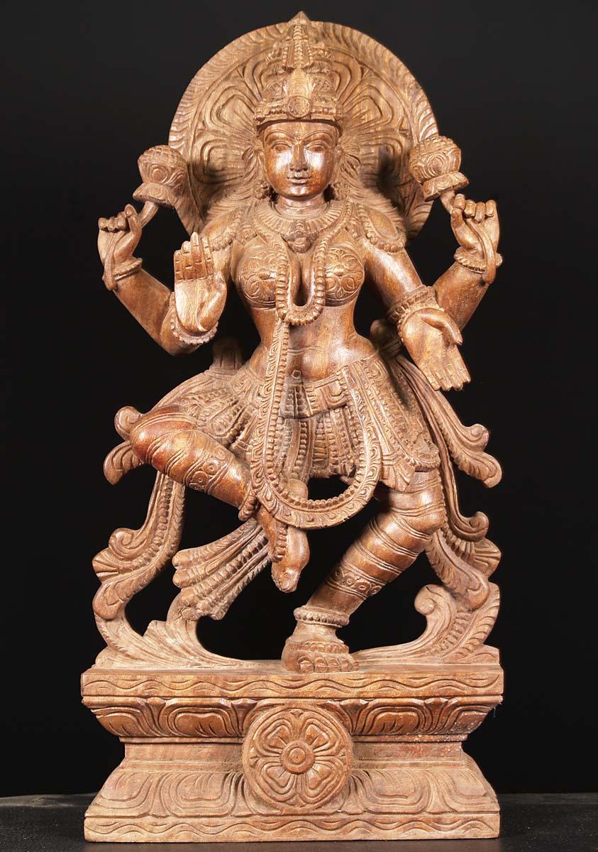 Sold Wooden Dancing Lakshmi Statue 30 Quot 76w19m Hindu