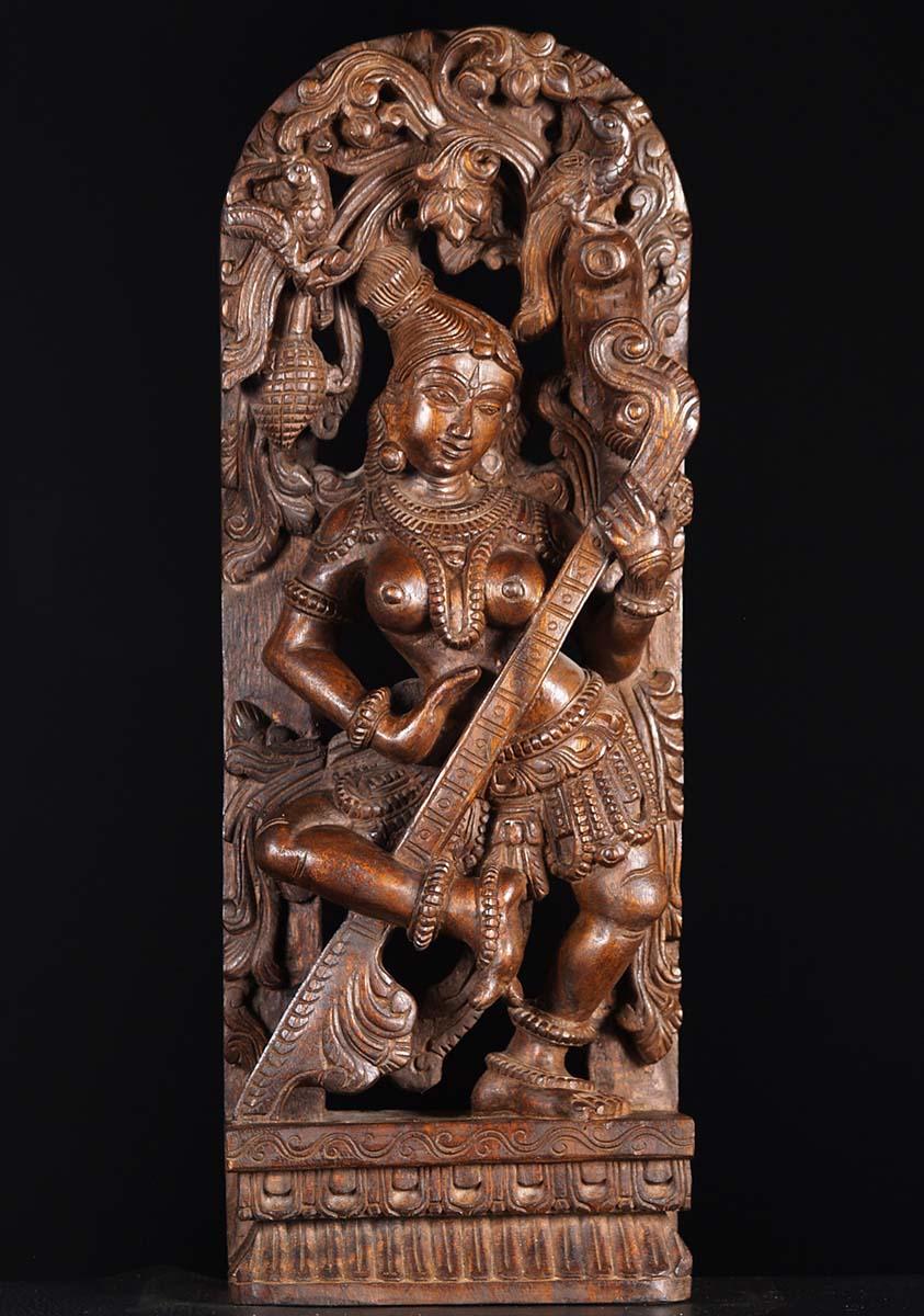 SOLD Dancing Saraswati Wood Statue 30 76w19v Hindu Gods  Buddha Statues