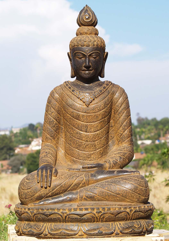 Sold Stone Garden Earth Touching Buddha Statue 39