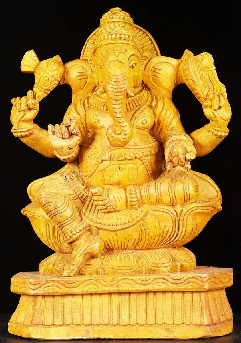 SOLD Wooden Yellow Colored Ganesh 12 76w6z6 Hindu