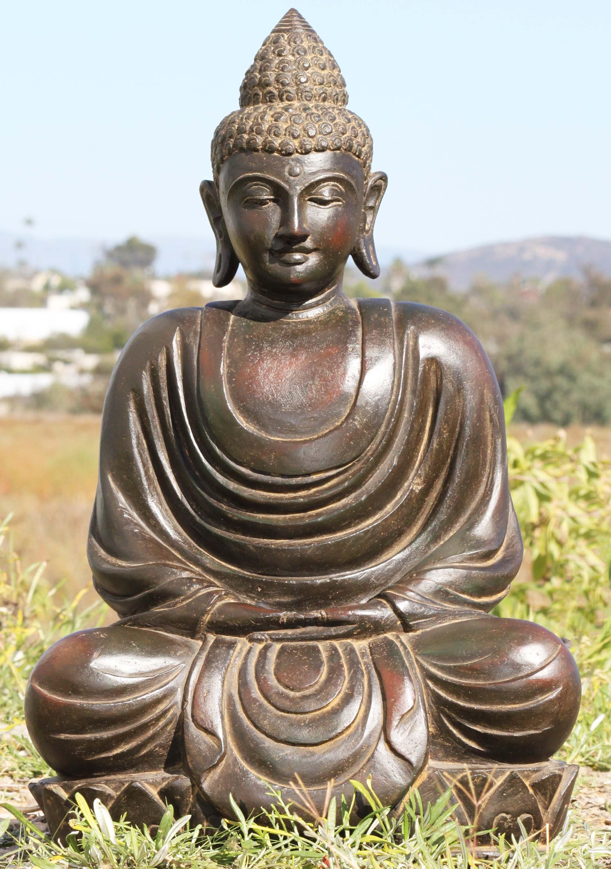 "SOLD Stone Garden Meditating Buddha Statue 25"" (#96ls265"