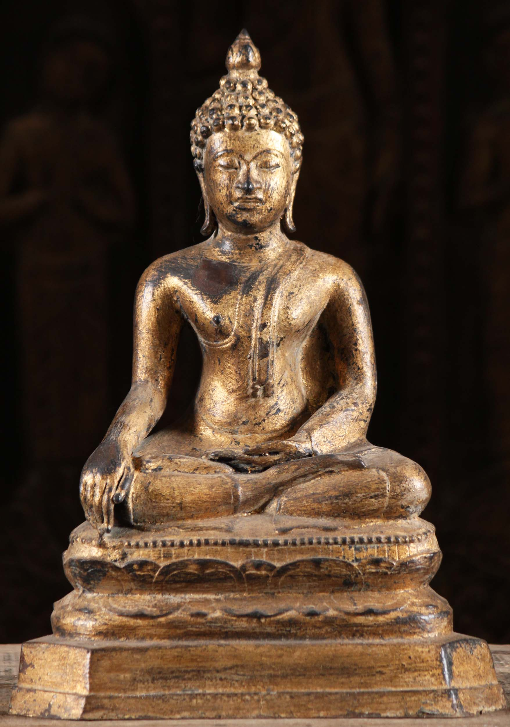 Gold Leaf Earth Touching Thai Buddha Statue 15 Quot 104t17c