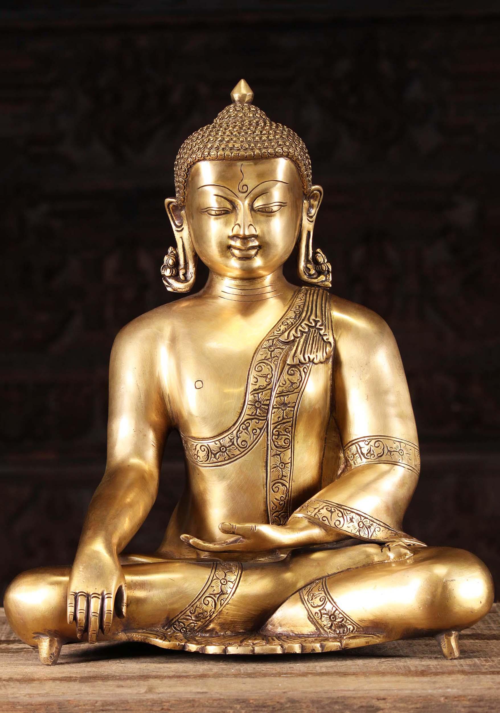 Brass Earth Touching Indian Buddha Statue 15 72bs31z Hindu Gods Buddha Statues