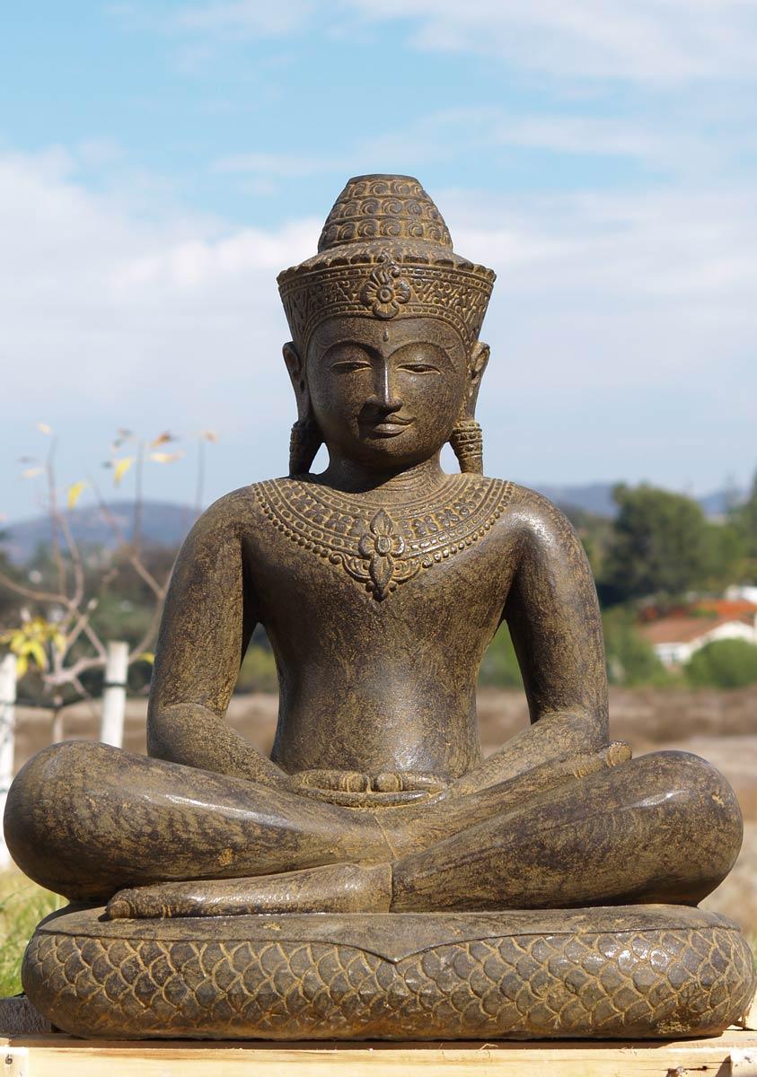 Sold Stone Khmer Buddha On Snake 34 Quot 77ls54a Hindu